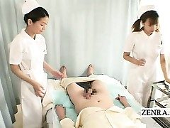 Subtitles CFNM two Japanese nurses hand job with cum-shot