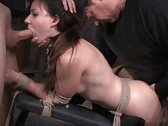 Girl next door used like a fuck-a-thon victim in restrain bondage