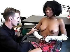 Ebony student gets lured by her horny milky teacher.