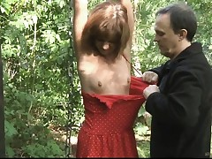 Teenager sub bound smacked and banged in the woods